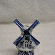 Vintage Blue Delft Holland Windmill Figurine