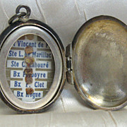 Solid Silver Reliquary Locket with Six First Class Relics Daughters of Charity