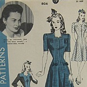 SOLD Vintage 1942 Hollywood Dress Pattern #804 Olivia De Havilland
