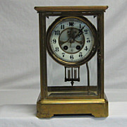 SOLD Reserved - Gilbert Crystal & Brass Tall Mantle Clock with Porcelain Dial
