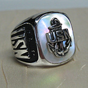 United States Navy Sterling Ring with Mother of Pearl