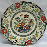 REDUCED Colorful Coalport Kings Ware Canton Dinner Plate Black and Red Transferware