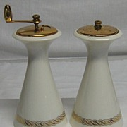 Vintage Lenox Tall Salt Shaker & Pepper Mill Ivory with Gold Enamel Rope Design