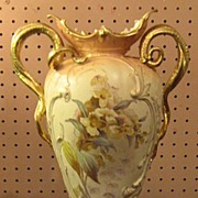 1930's Monumental Hand Painted Vase by Robert Hanke Porcelain Austria with Snake Handles