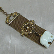 Victorian Mesh Watch Fob with Milk Glass Elephant