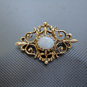 Art Nouveau 14K Opal Pin Brooch