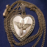 Remarkable Sterling Army Air Corp Heart Pendant & Chain
