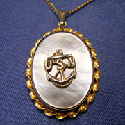 US NAVY Sterling 10K Gold Photo Locket Necklace