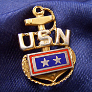US Navy Sterling & Enamel TWO Loved Ones in Service Pin