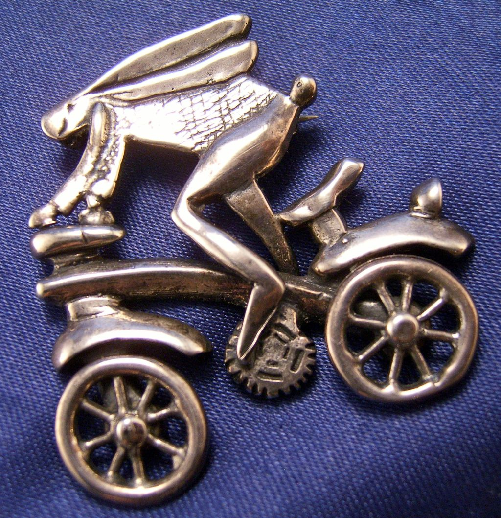 Whimsical Sterling Bunny on a Bike Pin