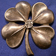 SOLD US Navy Sterling Four Leaf Clover Pin ~ WWII ~ 1940's
