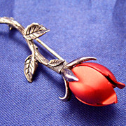 SALE PENDING Vintage Beauty ~ Red Rose Pin in Sterling Silver