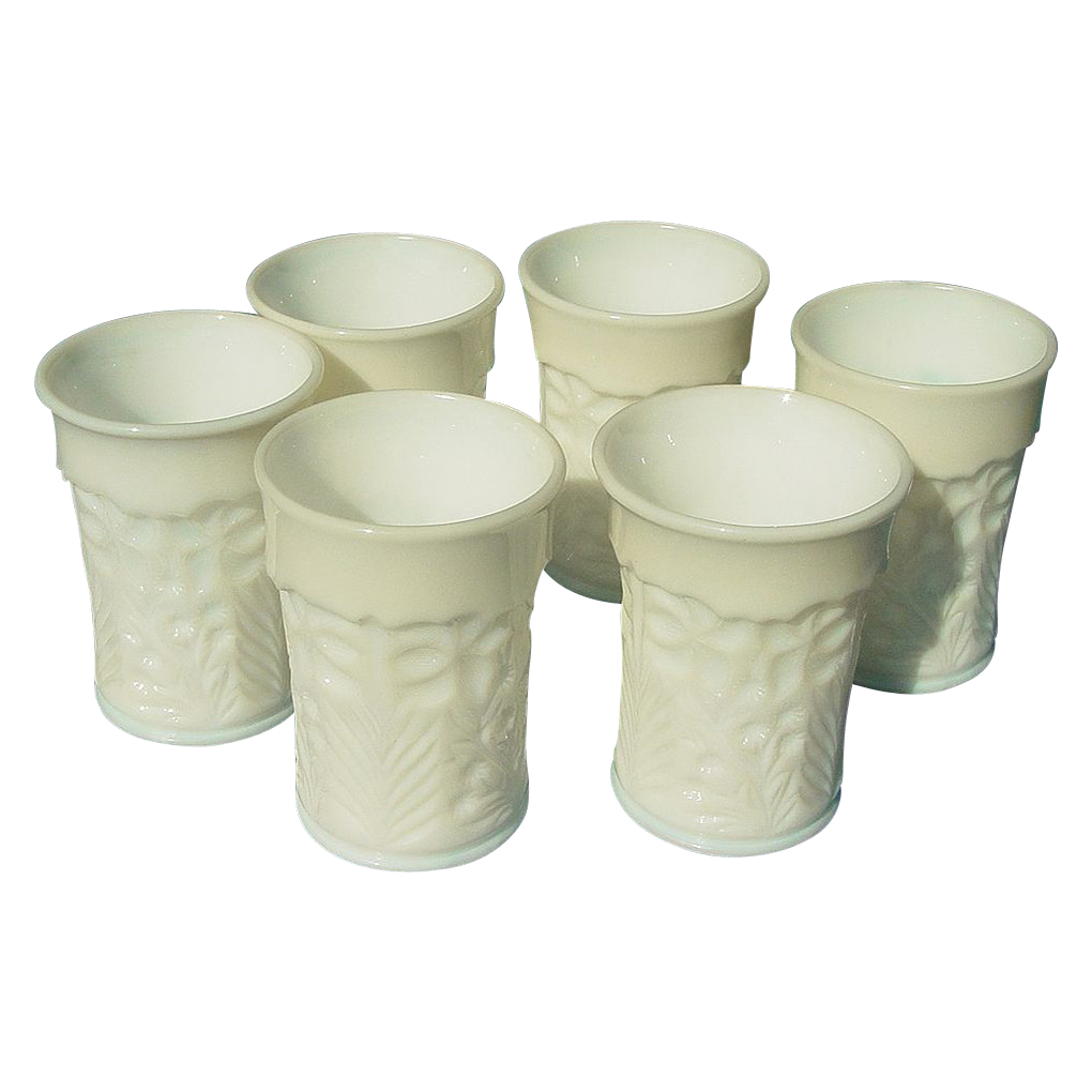 Six Milk Glass Tumblers - L. E. Smith Company - Dogwood