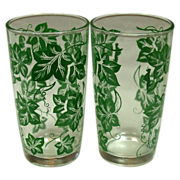 Hazel Atlas ~ Four Tumblers ~ Leaf Pattern