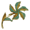 B.S.K. Pin ~ Goldtone metal and Turquoise color stones ~ Free Shipping