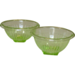 "Paneled Green Depression Mixing Bowls ~ 7 1/2"" & 8 1/2"" ~ Hocking Glass"