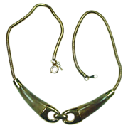 Crown Trifari Necklace ~ Goldtone with Faux Horn ~ 13&quot; ~ Free Shipping!