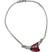 Monet Necklace ~ Silver Tone, Red Enamel, Rhinestones!