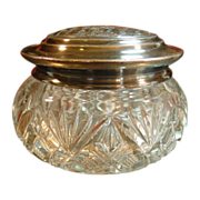 Heisey Glass ~ Round Box with Silver Lid ~ Circa 1900