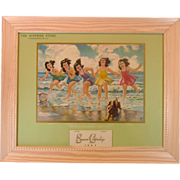 Dionne Quintuplets ~ 1943 Advertising Calendar ~ Framed ~ Mint!