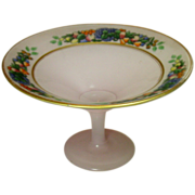 Cased Glass Compote ~ Fruits Decal, Gilt Trim