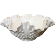 Vintage Fenton Hobnail Rope 8&quot; Double Crimped Bowl ~ Milk Glass