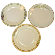Nippon ~ Handpainted Plates ~ Set of Three ~ Gilt Trim