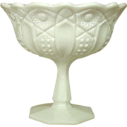 L. E. Smith Glass ~ Milk Glass ~ Compote on Column ~ 7""
