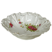 Porcelain Serving Bowl ~ Molded Relief, Hand-painted Gilt and Detailing