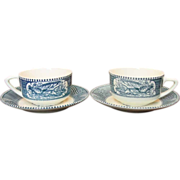 Royal China ~ Currier & Ives ~ Cup & Saucer Sets ~ 2