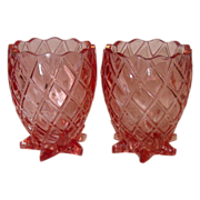 Vintage Pink Pineapple shaped Spooners / Vases ~ Thick Glass