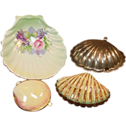 Group of Shell Shaped Items ~ Boxes, Lefton Dish, Silver Plated Caviar Server