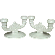 Fenton ~ Daisy & Button ~ Double Candle Holders, Pair, Milk Glass
