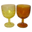 Buttermilk Goblets / Vases ~ Flashed Color ~ 1950's - 60's