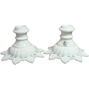 Westmoreland Glass ~ Ring & Petal ~ Milk Glass ~ Candlesticks, pair