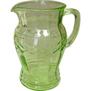 Anchor Hocking, Depression Glass Pitcher, Crisscross, 1930, Green