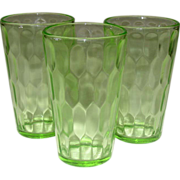 Jeannette Glass, Depression Green Tumblers, Hex Optic, 3 pcs.