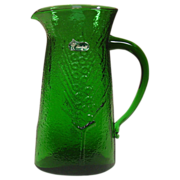 Bischoff ~ Handblown West Virginia Glass ~ Green Pitcher ~ Sticker
