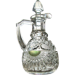 Eapg 'Rising Sun' Pattern Glass cruet, green 'stained'