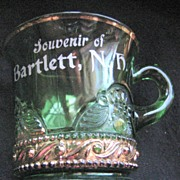 U.S. Glass green Lacy Medallion, Colorado, souvenir mug