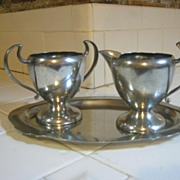 SALE Pewter Art Deco sugar/creamer set, Benedict