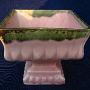 REDUCED Retro art pottery, Pink, Green drip pedestal planter USA