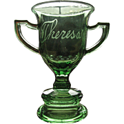 SALE Eapg emerald green toothpick, souvenir, toy glass Loving cup / trophy