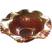 Carnival Federal glass marigold bowl, scarce 'filed rib' pattern