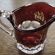 Eapg Ruby stained child's creamer, miniature souvenir, Duncan Blocked Thumbprint