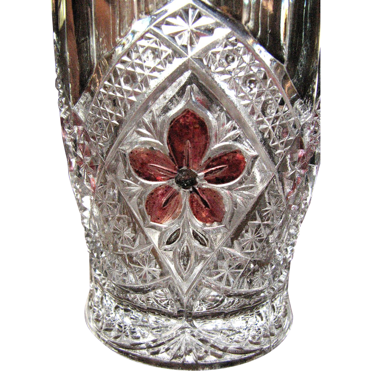 Eapg Ruby-stained 'Flower Medallion' Indiana Glass, tumbler