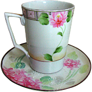 Nippon porcelain cup saucer set, Japan Jonroth studios