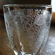 Depression glass Florentine #1 footed tumbler, crystal