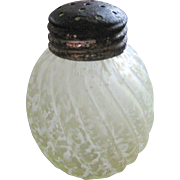 SALE Northwood Glass Vaseline / canary Victorian shaker, 'Reverse Swirl'