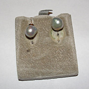 14 kt Gold and Grey Tahitian Pearl Baroque Earrings